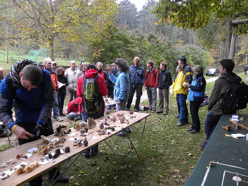 Excursion group at the mushroom presentation table